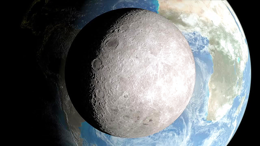 Far Side of the Moon and Rotating Earth