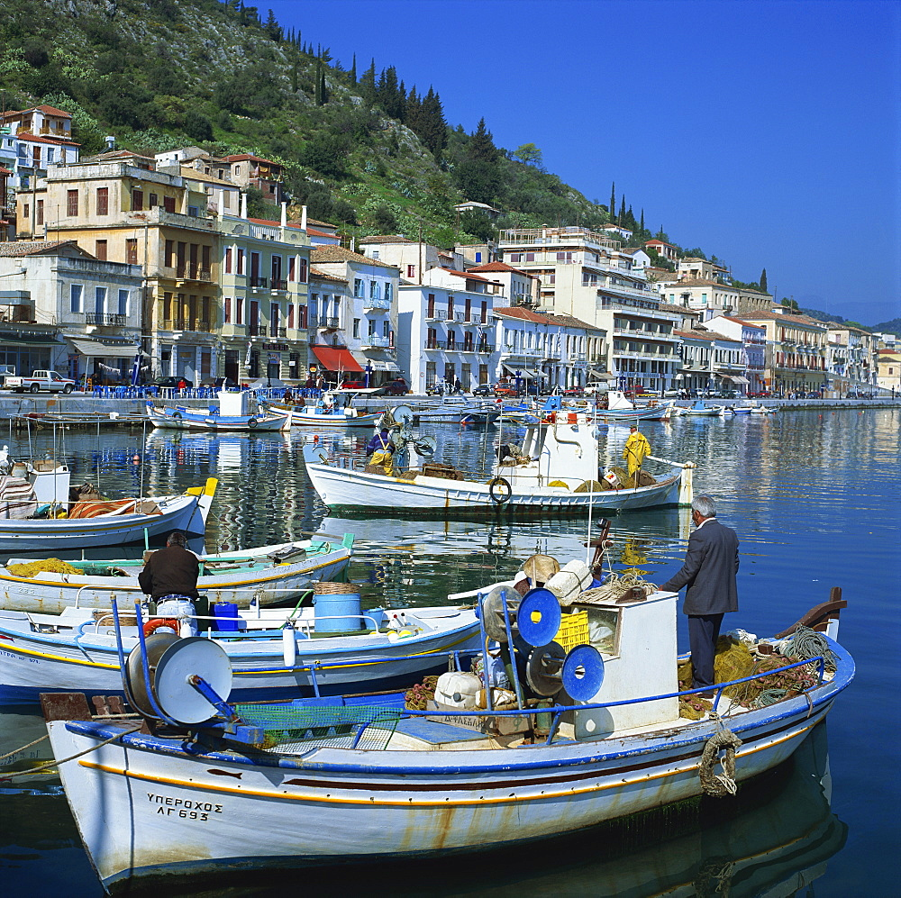 Fishing boats at port town of Neapoli, Peloponnese, Greece, Europe - 136-1631