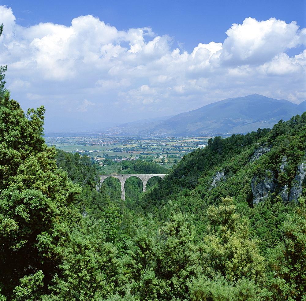 View over landscape towards Spoleto, Umbria, Italy, Europe