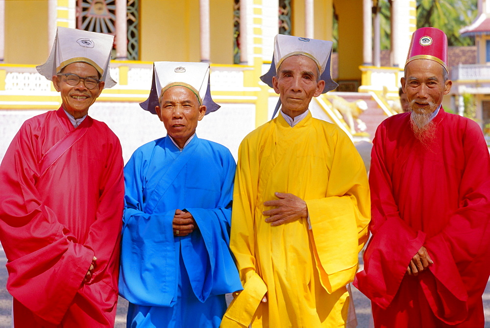 Portrait of four Cao Dai high priests, Long Hoa, Tayninh Province, Vietnam, Indochina, Southeast Asia, Asia