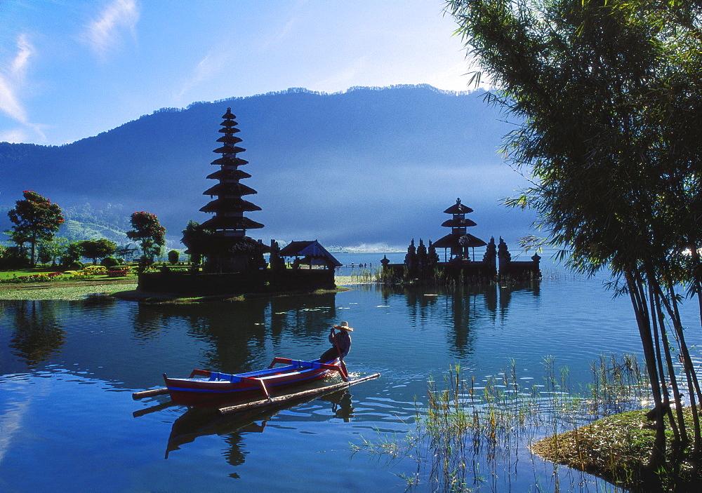 Man in Boat Rowing and Hindu Temples at Lake Bratan, Pura Ulu Danau, Bali - 142-4410
