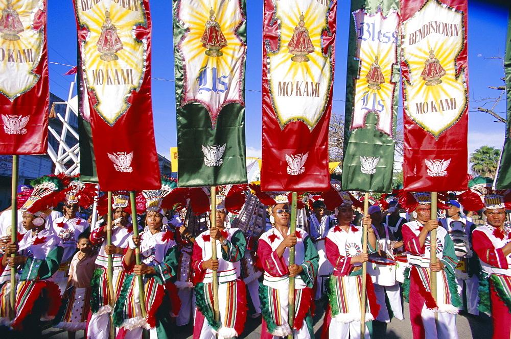 Procession with banners, Mardi Gras carnival, Ati Atihan festival, Kalibo, island of Panay, Philippines, Southeast Asia, Asia