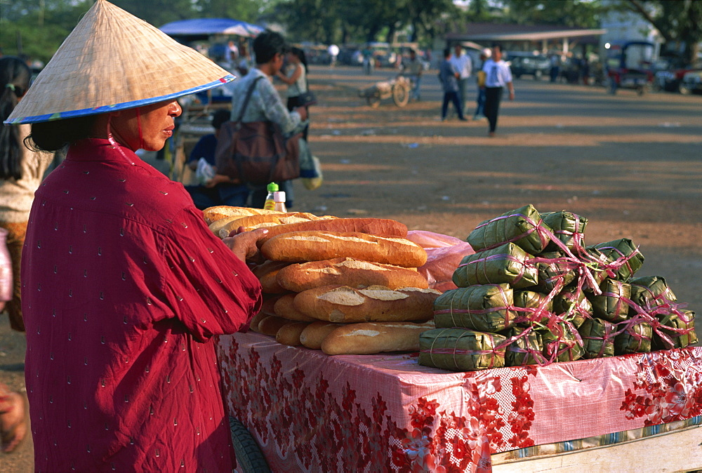 French bread for sale, Talat Sao Market, Vientiane, Laos, Indochina, Southeast Asia, Asia - 142-5148