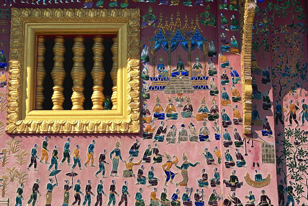 Mosaic, Golden Temple chapel, Luang Prabang, UNESCO World Heritage Site, Laos, Indochina, Southeast Asia, Asia - 142-5180