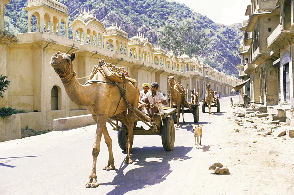 Street scene with camel cart, Jaipur, Rajasthan state, India, Asia