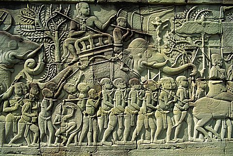 Relief, Bayon, Angkor, UNESCO World Heritage Site, Siem Reap, Cambodia, Indochina, Southeast Asia, Asia - 150-79