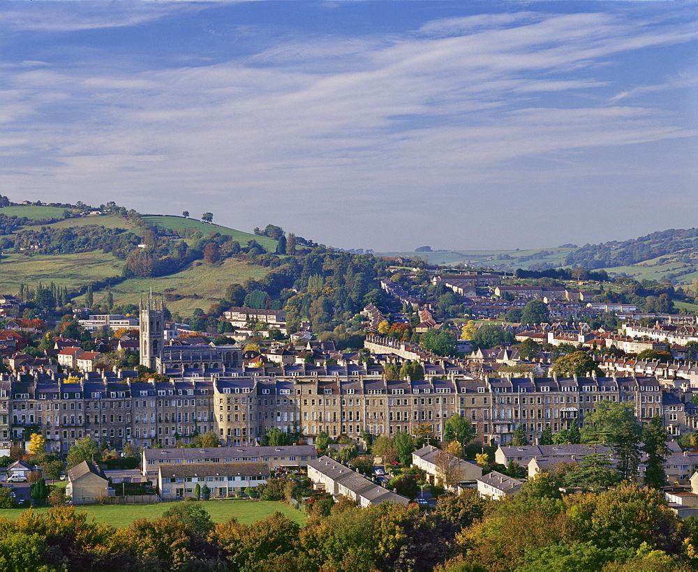 Terrace housing in the Avon valley, on the outskirts of Bath, Avon, England, United Kingdom, Europe - 16-3213