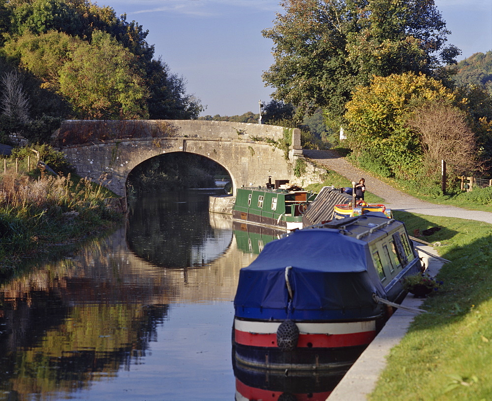 Narrowboats moored on the Kennet and Avon Canal at Bathampton, near Bath, Avon, England, United Kingdom, Europe - 16-3214