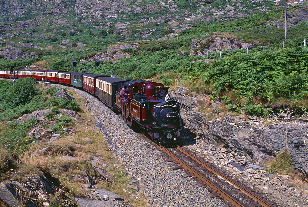 Ffestiniog Railway at Tanygrisiau, the busiest of the North Wales narrow gauge railways, opened in 1836 to carry slate from Blaenau Ffestiniog to the coast, Wales, United Kingdom, Europe - 16-3227