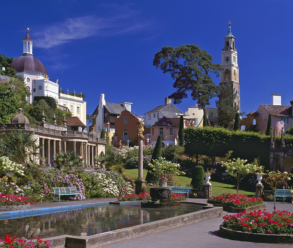 Portmeirion Village, created by Sir Clough Williams-Ellis between 1925 and 1972, Porthmadog, Gwynedd, North Wales, United Kingdom, Europe - 16-3240