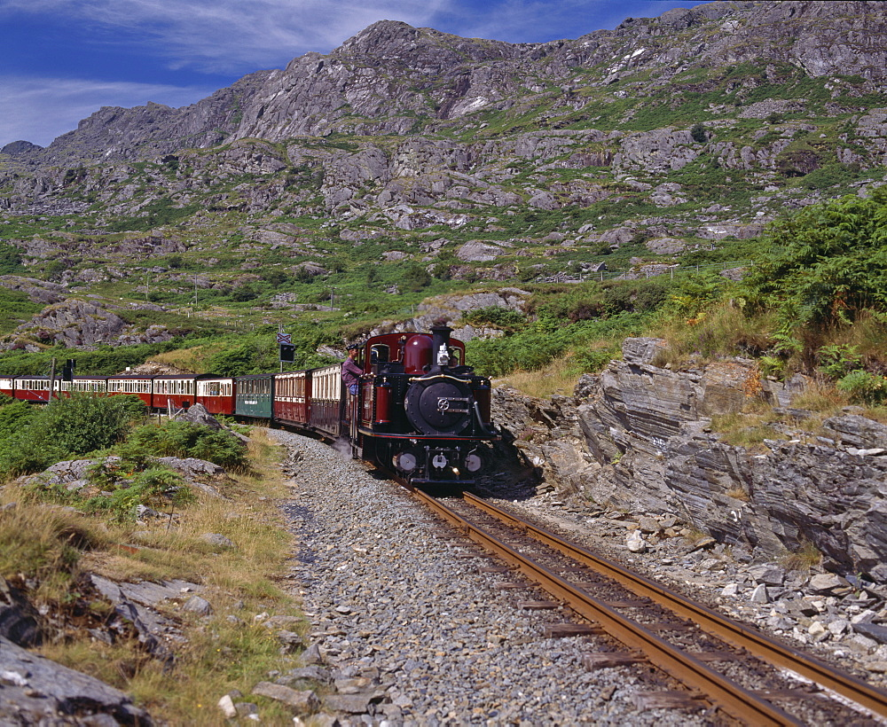 Ffestiniog Railway at Tanygrisiau, the busiest of the North Wales narrow gauge railways, opened in 1836 to carry slate from Blaenau Ffestiniog to the coast, Wales, United Kingdom, Europe - 16-3243