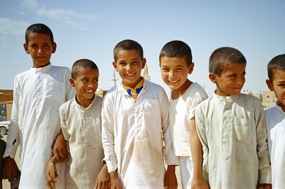 Group portrait of boys, Hafr el Batn, Saudi Arabia, Middle East