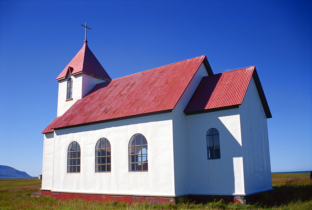 Church with white walls and corrugated roof at Flatey, north Iceland, Polar Regions - 166-3986