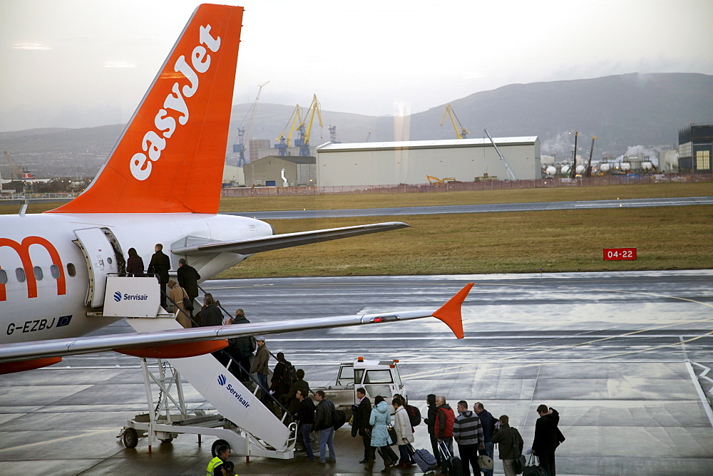 Easyjet passengers boarding at Belfast City airport, Belfast, Ulster, Northern Ireland, United Kingdom, Europe