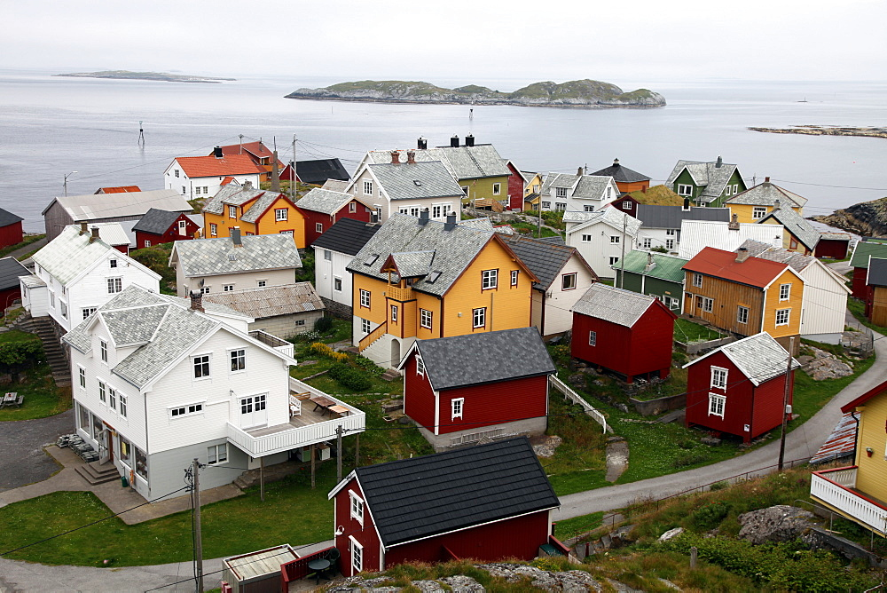 Once a small fishing village on the tiny island of Ona, now summer cabins with only a handful of year-round elderly residents, Ona, Sandoy, Norway, Scandinavia, Europe