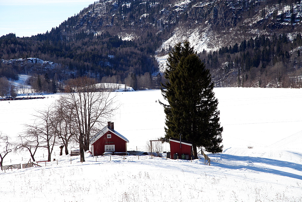 Cabin by a snow-covered lake, Sem, Asker, Norway, Scandinavia, Europe  - 166-5424
