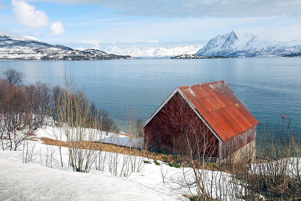Boathouse on the island of Kvaloya (Whale Island), Troms, Norway, Scandinavia, Europe - 166-5437