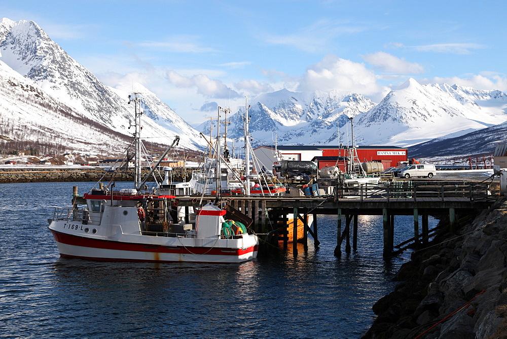 Fishing boats and Lyngen Alps, Troms, Norway, Scandinavia, Europe - 166-5441