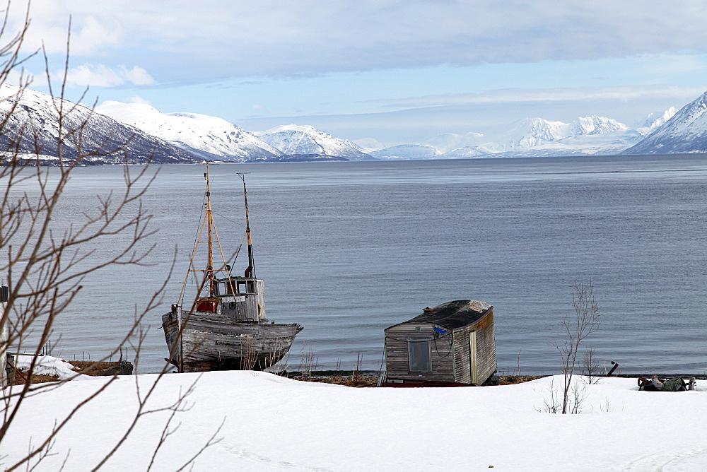 Old fishing boat laid up on Kvaloya (Whale Island), Troms, arctic Norway, Scandinavia, Europe - 166-5446