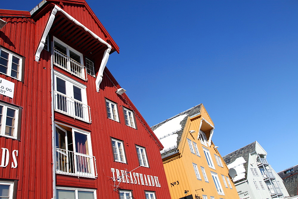 Converted warehouses along harbour front, Tromso, Troms, Norway, Scandinavia, Europe - 166-5450