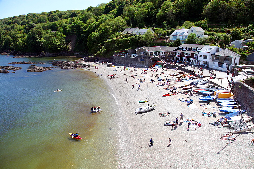 Cawsand beach from street above, Plymouth Sound, Cornwall, England, United Kingdom, Europe - 166-5456