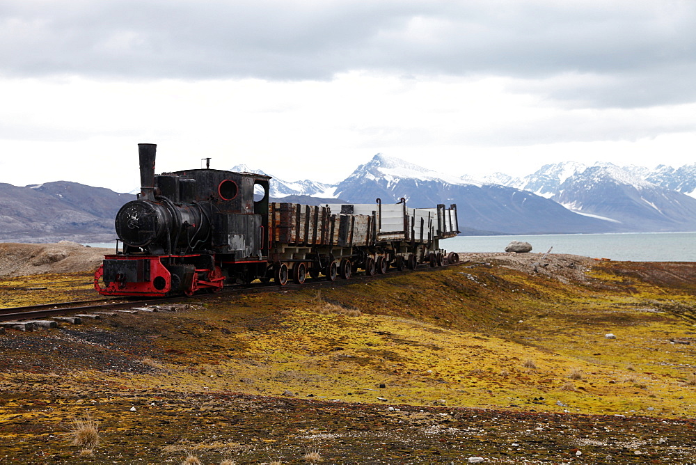 Coal trucks and locomotive preserved as a monument at Ny Alesund, Svalbard, Norway, Scandinavia, Europe - 166-5478
