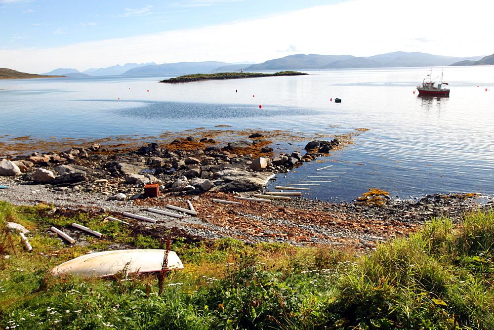 Boat and slip at Helgoy, Troms, North Norway, Norway, Scandinavia, Europe - 166-5491
