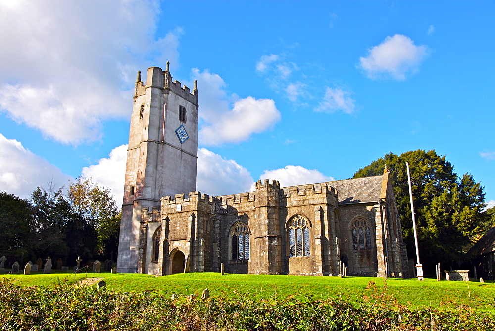 St. Winifred's church dating from the 15th century, Manaton, Dartmoor, Devon, England, United Kingdom, Europe  - 166-5492