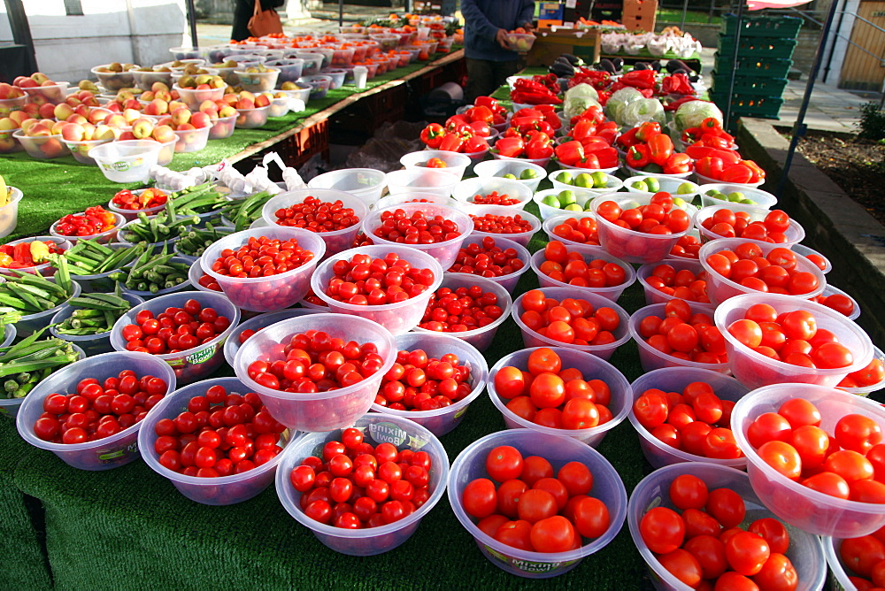 Tomatoes on a market stall in Hackney, London E8, England, United Kingdom, Europe - 166-5494