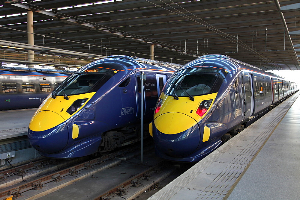 High speed trains at St. Pancras station, London, England, United Kingdom, Europe - 166-5508