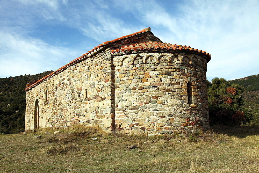 Chapel of St. Eulalia, probably built in the 3rd century AD, near Arboussols, Pyrenees-Orientales, Languedoc-Roussillon, France, Europe  - 166-5511