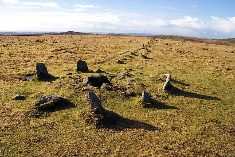 Prehistoric ceremonial lines of stones, Merrivale, Dartmoor National Park, Devon, England, United Kingdom, Europe - 166-5512