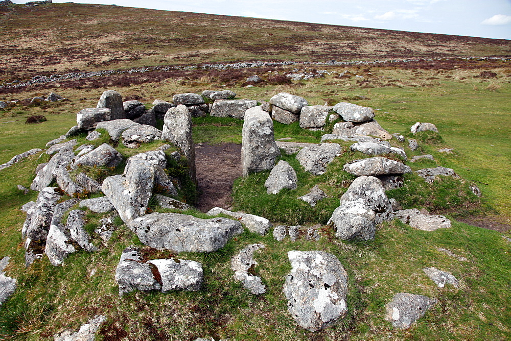 Ruins of early Bronze Age house, about 3500 years old, Grimspound, Dartmoor National Park, Devon, England, United Kingdom, Europe