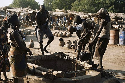 Waterhole in market place, Ati, Chad, Africa