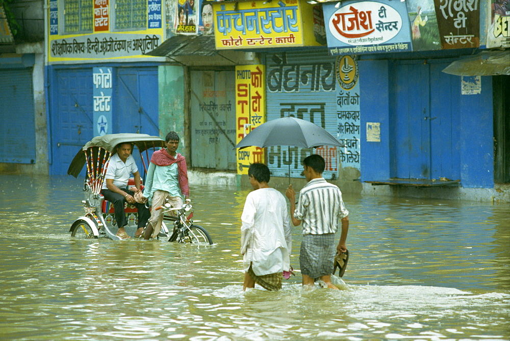 Flooding after the monsoon, India, Asia