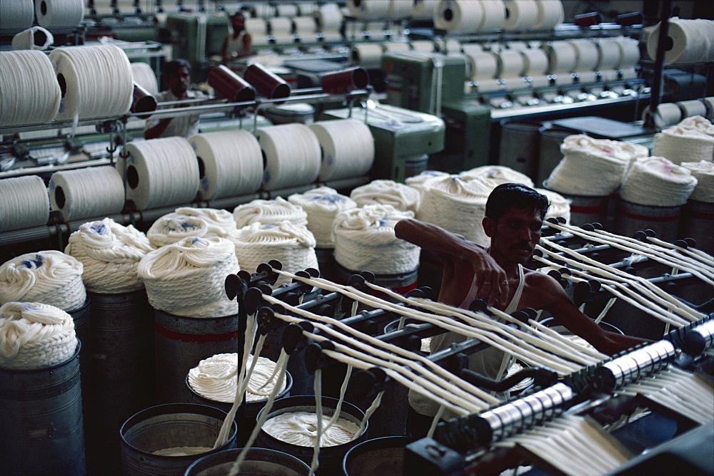 Modernised cotton mill in Ahmedabad, the Manchester of the East, Gujarat, India, Asia