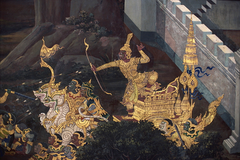 The Ramakien epic story, Temple of the Emerald Buddha, Bangkok, Thailand, Southeast Asia, Asia