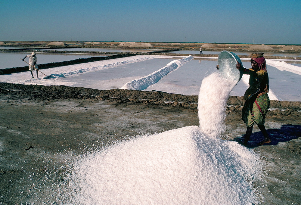 Salt pans, Kutch district, Gujarat, India, Asia