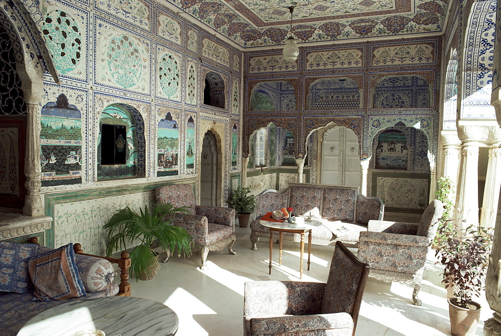 The exquisitely hand painted Sultan Mahal, one of the finest examples of its type, Samode Palace, Samode, Rajasthan state, India, Asia