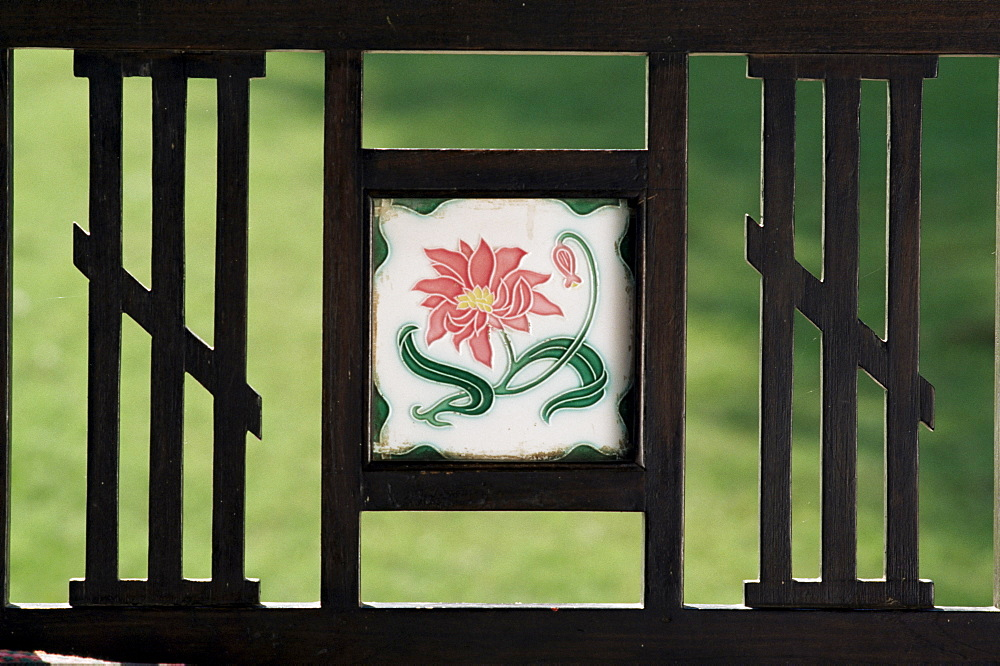 Detail of art deco style tile inset into swing bed or hitchkar, near Ahmedabad, Gujarat state, India, Asia