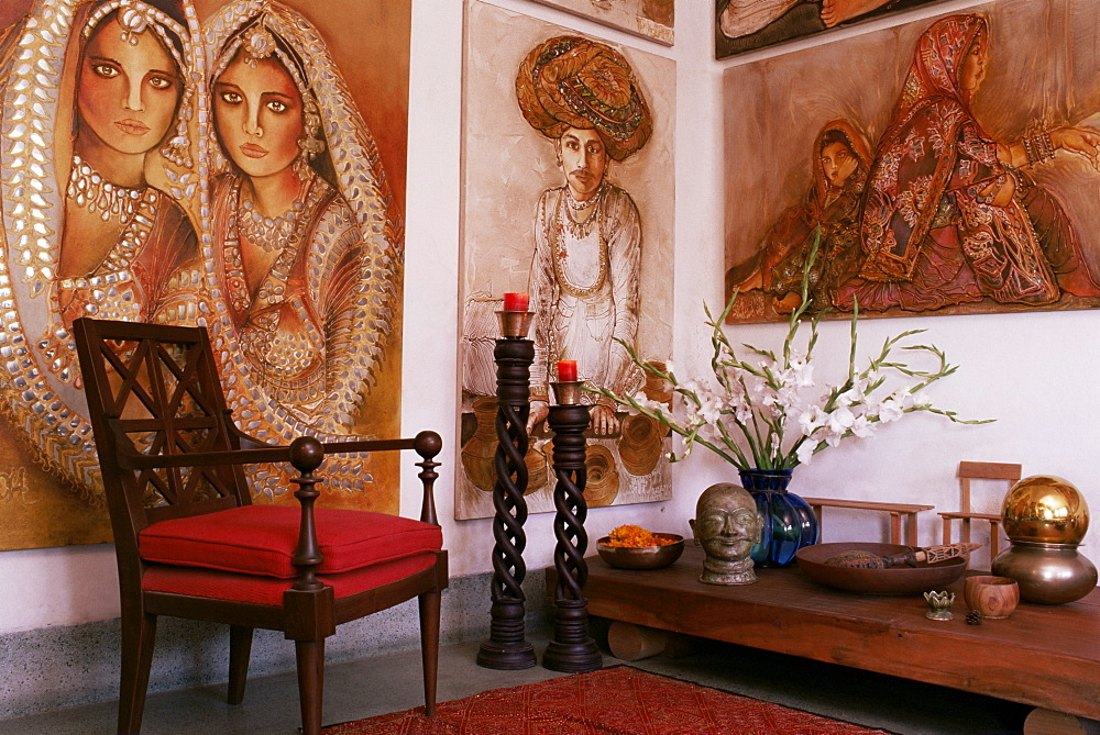 Paintings by Jaya Rastogi Wheaton, in Artist's house in Jaipur, Rajasthan state, India, Asia