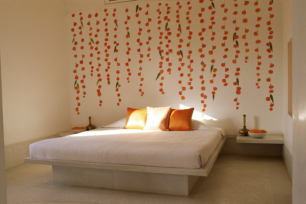 Honeymoon bedroom suite, marigolds and mango leaves are associated with marriage, Devi Garh Fort Palace Hotel, near Udaipur, Rajasthan state, India, Asia  - 17-4299