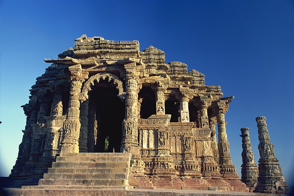 The Sun Temple, built by King Bhimbev in the 11th century, Modhera, Gujarat state, India, Asia
