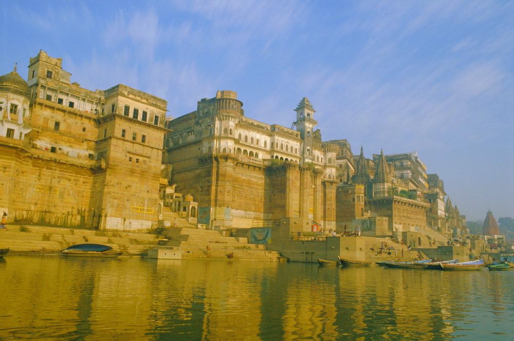 The waterfront at Varanasi, previously known as Benares, on the Ganges River, Uttar Pradesh, India