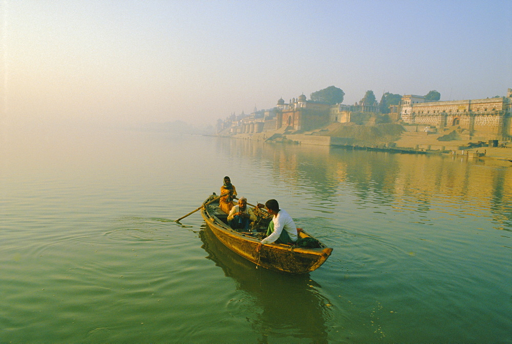 Stock photo of waterfront and boat on the River Ganges