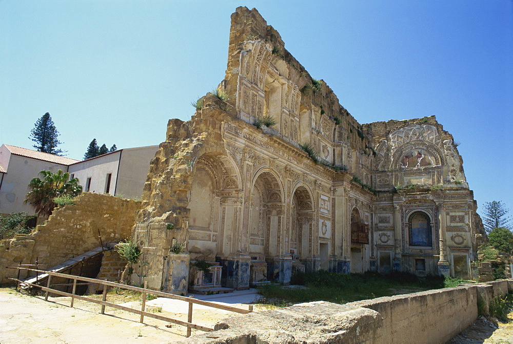 Ruins of the church after the earthquake of 1968, Santa Margherita Belice, Sicily, Italy, Europe - 172-569