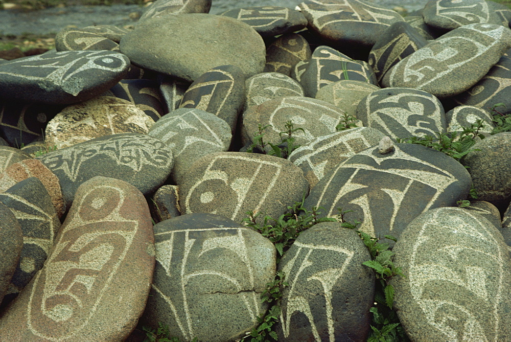 Cairn of individual prayers carved on stones, Tibet, China, Asia - 188-2489