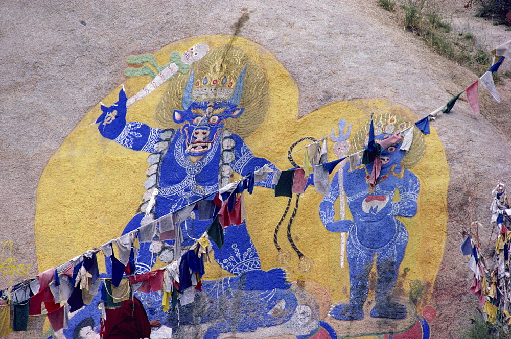 Rock paintings, Sera Monastery, Lhasa, Tibet, China, Asia
