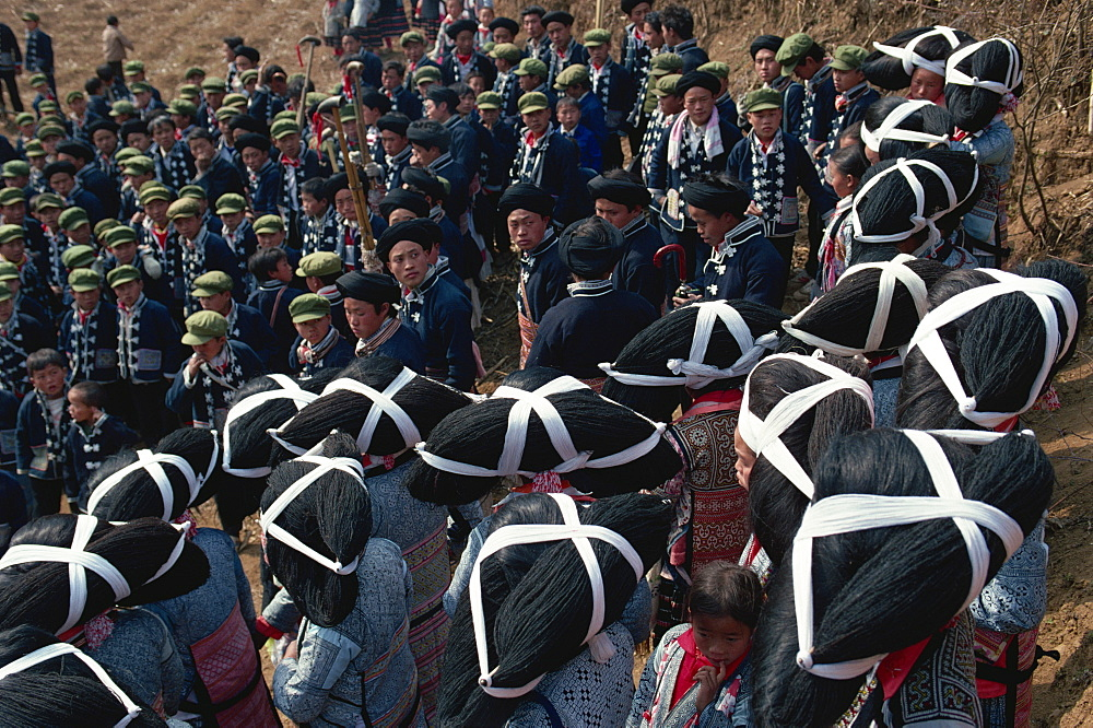 Long haired Miao waiting for Lushong Festival to begin, East Guizhou, Guizhou, China, Asia - 188-5213