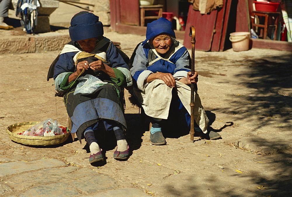 Naxi old women, Lijiang, Yunnan, China, Asia - 188-5455